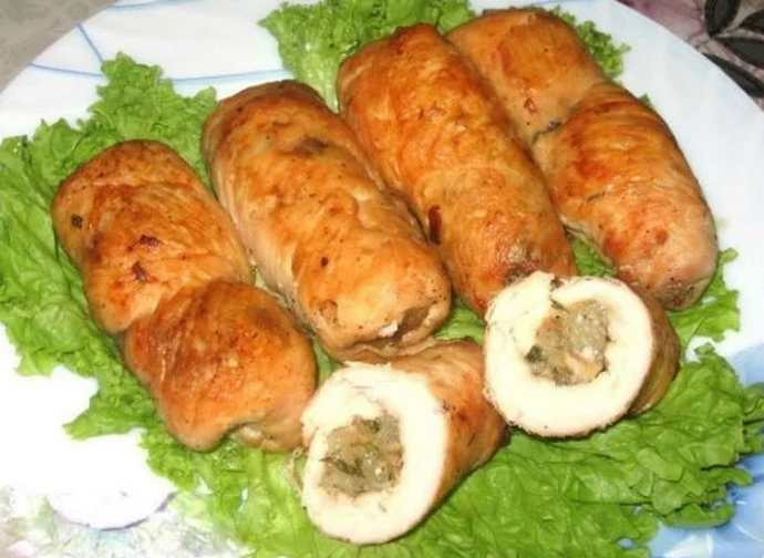 Куриные рулетики с грибами и сыром пошаговое приготовление