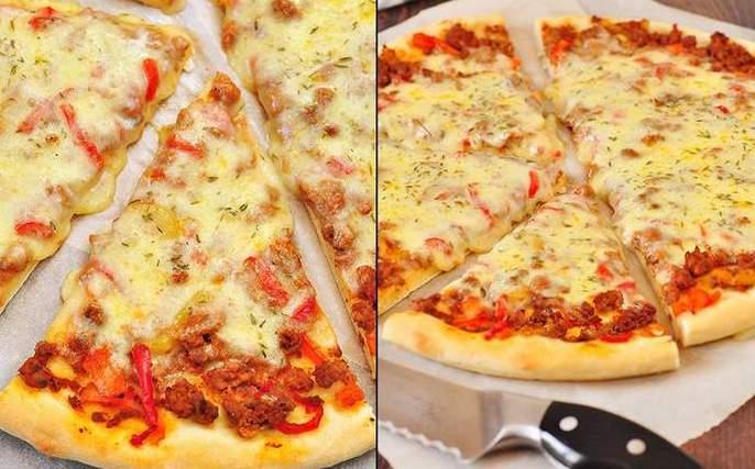 Пицца с фаршем и сыром