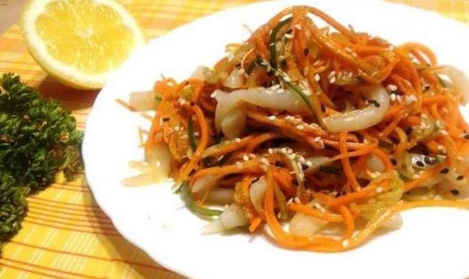 Салат из кальмаров без майонеза