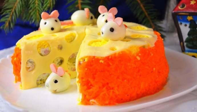 Новогодний салат мышки в сыре