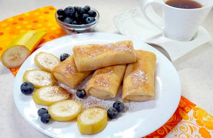 Рецепт блинчиков с творогом и бананом