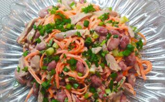Очень вкусный салат с куриными сердечками