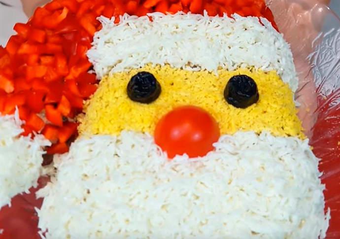 Вкусный салат Дед Мороз