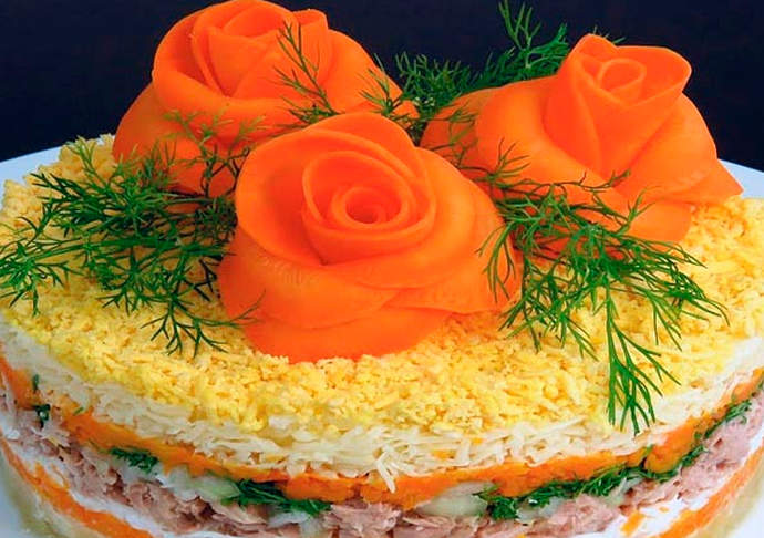 Мимоза Украшение салата