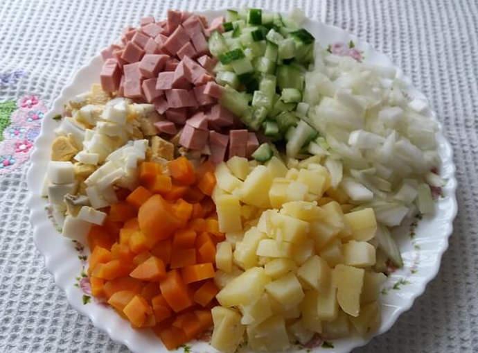 нарезка продуктов на салат