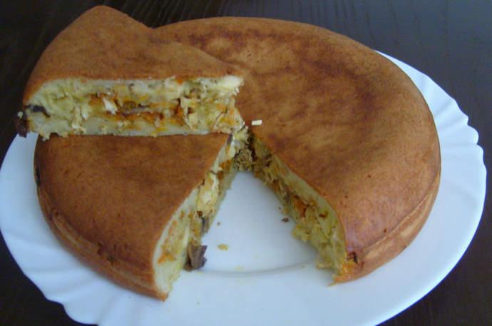 заливной пирог с курицей и грибами в мультиварке