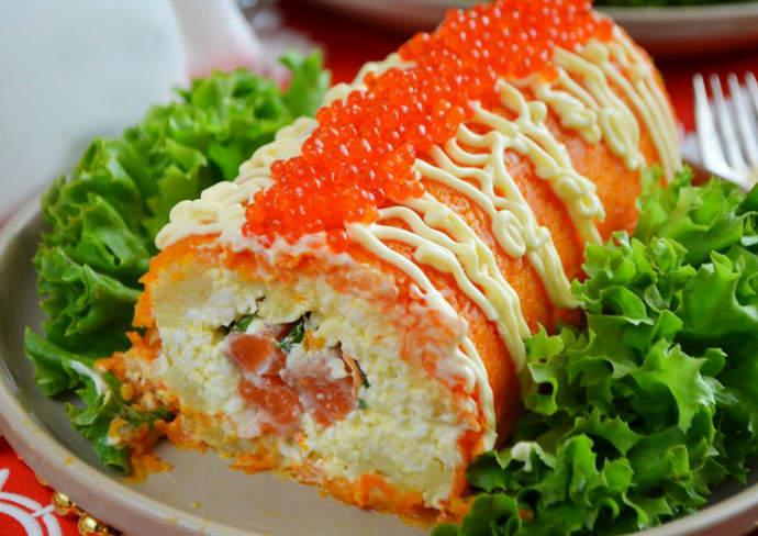 "салат-рулет ""Царский"" с красной рыбой"