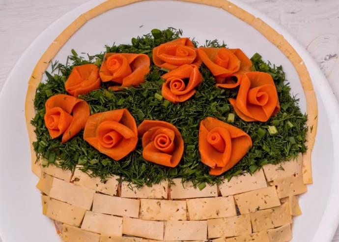 салат корзинка с розами