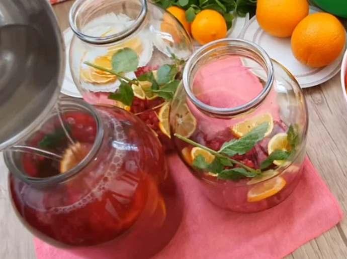Компот вишневый Мохито на зиму с мятой и лимоном