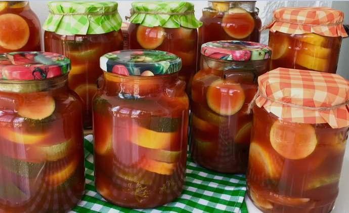 кабачки в кетчупе на зиму обалденно вкусные