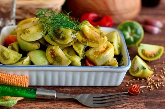 Холодный способ засолки зеленых помидоров на зиму – рецепт на 3-х литровую банку